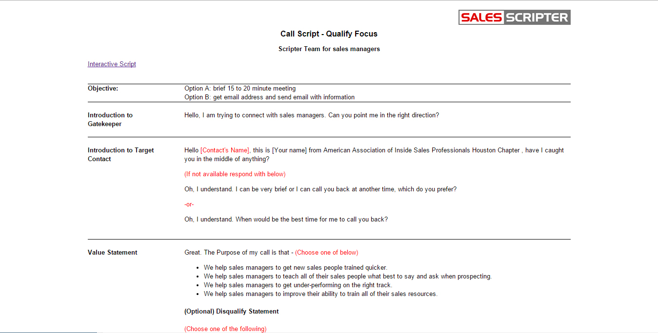 Cold call script for Cold call script template